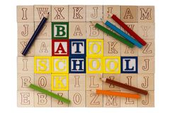 Wooden blocks Back to School Royalty Free Stock Photography
