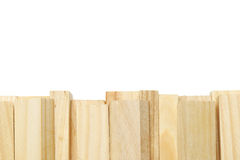 Wooden blocks border. Wooden building blocks border on whte background royalty free stock photo