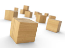 Wooden blocks or bricks Stock Photo