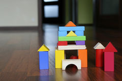 Wooden blocks building Royalty Free Stock Photo