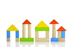 Wooden blocks buildings Royalty Free Stock Image