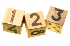 Wooden blocks with digits Royalty Free Stock Image