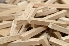 Wooden blocks filling frame with selected focus Royalty Free Stock Photo