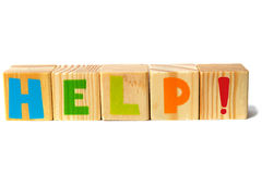 Wooden blocks with HELP word Stock Photos