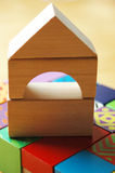 Wooden blocks house Stock Photography