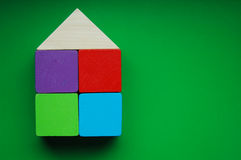 Wooden blocks house Royalty Free Stock Image