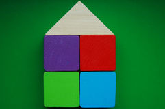 Wooden blocks house Stock Photo