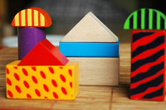 Wooden blocks houses Royalty Free Stock Image