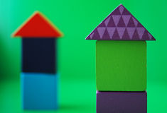 Wooden blocks houses Royalty Free Stock Photos