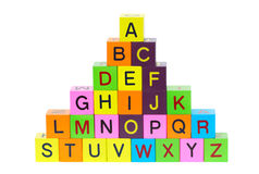 Wooden blocks with letters. And numbers on white background Royalty Free Stock Photos