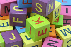 Wooden blocks with letters. Close up Royalty Free Stock Images