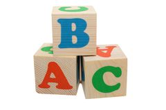 Wooden blocks with letters Stock Photo
