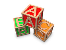 Wooden blocks with letters A B C. Illustration of wooden alphabet. ABC blocks. Children toy Stock Image