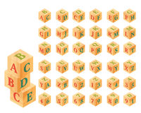 Wooden blocks with letters and numbers, alphabet Stock Photography