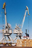 Wooden blocks on the loading at the port with cranes Royalty Free Stock Images