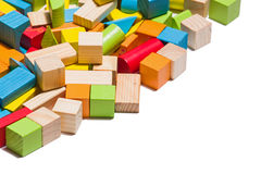 Wooden blocks lying in line isolated over white background Royalty Free Stock Image