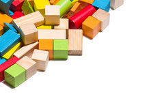 Wooden blocks lying in line over white background Royalty Free Stock Photo