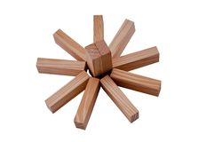 Wooden blocks make a sun or flower Royalty Free Stock Photos
