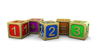 Wooden blocks math. 3d illustration of wooden blocks with numbers Stock Photography