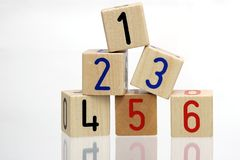 Wooden blocks with numbers Royalty Free Stock Photography