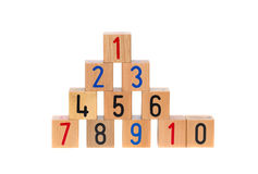 Wooden blocks with numbers. On white background Royalty Free Stock Photo