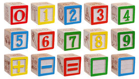 Wooden blocks - numbers Stock Images