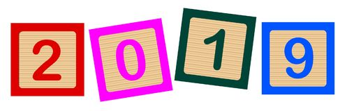 2019 Number Blocks. Wooden blocks with numbers 2019 over a white background Royalty Free Stock Image
