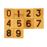 Wooden blocks with numbers on white Royalty Free Stock Images