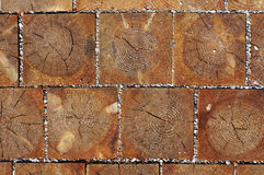 Wooden  blocks pavement texture. Stock Images