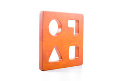 Wooden blocks shape sorter toy. Isolated on white background Stock Photography