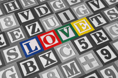 Wooden blocks spell out Love Stock Image