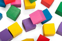 Wooden blocks, stack of colorful cubes, childrens toy isolated Royalty Free Stock Image