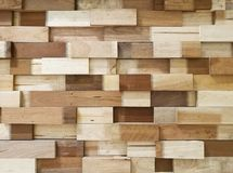 Wooden blocks stacked as wall texture for background Stock Photos
