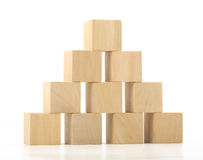 Wooden blocks tower on white background Stock Photos