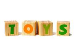 Wooden blocks with TOYS word Royalty Free Stock Image