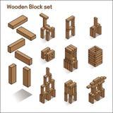 Wooden blocks vector illustration Stock Photos