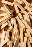 Wooden blocks on wood background.  Royalty Free Stock Image