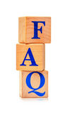 Wooden blocks with word FAQ. On white background Royalty Free Stock Photo
