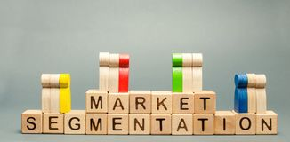 Wooden blocks with the word Market Segmentation and multicolored groups of people. Target audience, customer care. Market group of. Buyers. Customer analysis royalty free stock images