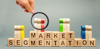 Wooden blocks with the word Market Segmentation and multicolored groups of people. Target audience, customer care. Market group of royalty free stock images