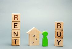 Wooden blocks with the word Rent or buy and a person stands near the house. Make the right decision. Real estate concept. Rent stock photography