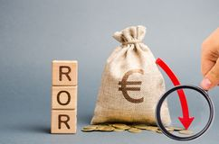 Wooden blocks with the word ROR, money bag and down arrow. Financial ratio illustrating the level of business loss. Return on stock photos
