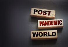 Wooden blocks with words Post-pandemic world. New normal social concept