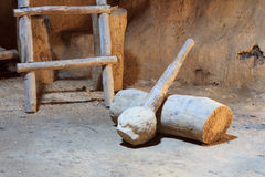 Wooden bludgeon of stone century Stock Images