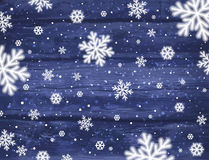 Wooden blue christmas background with snowflakes, vector Royalty Free Stock Photography