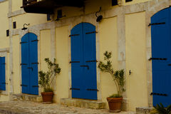 Wooden blue door on the white buildings, Cyprus Royalty Free Stock Images