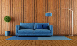Wooden and blue living room Stock Photos