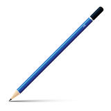 Wooden blue sharp pencil  on white background. Stock Image