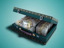 Wooden blue suitcase with one million dollars 3D render on blue background with shadow. Wooden blue suitcase with one million dollars 3D render on blue stock illustration