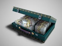 Wooden blue suitcase with one million dollars 3D render on gray. Background with shadow stock illustration
